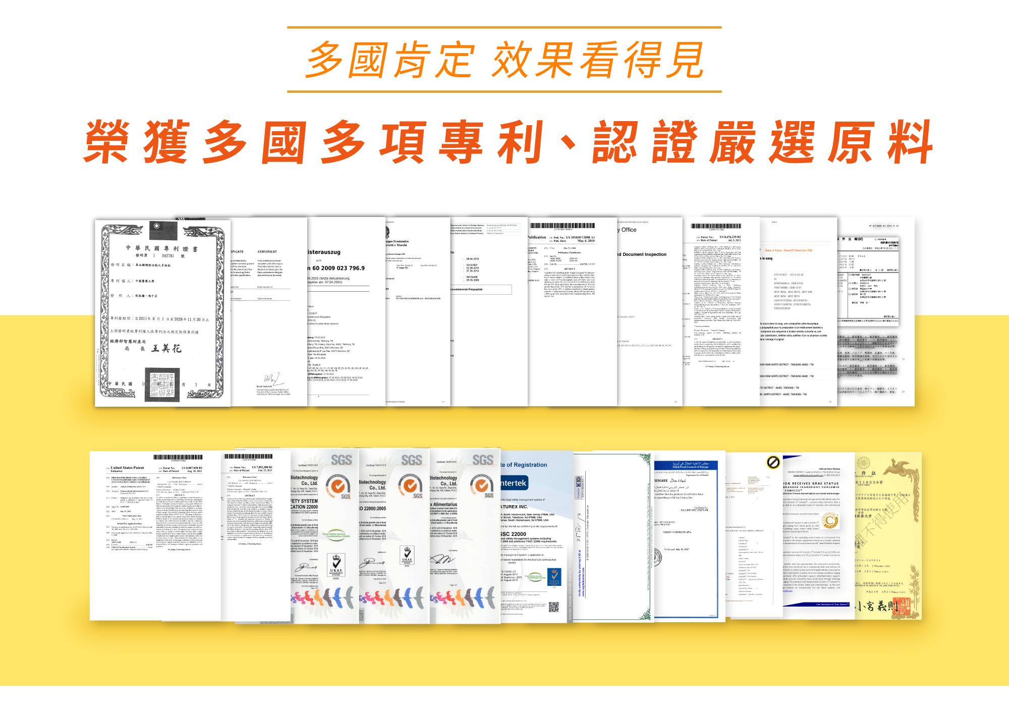 多國多項專利,認證嚴選原料
