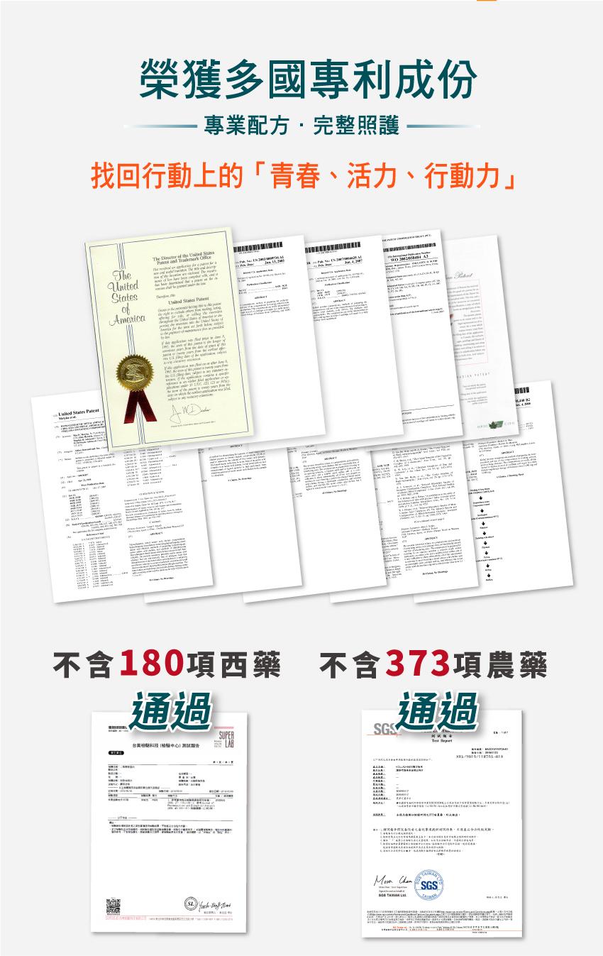 榮獲多國專利成份,專業配方完整照護,找回行動上的青春、活力、行動力,不含180項西藥,不含373項農藥
